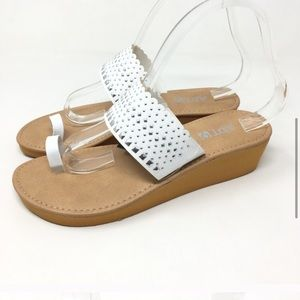 New Apt.9 Studded Laser Cut White Wedge Sandals